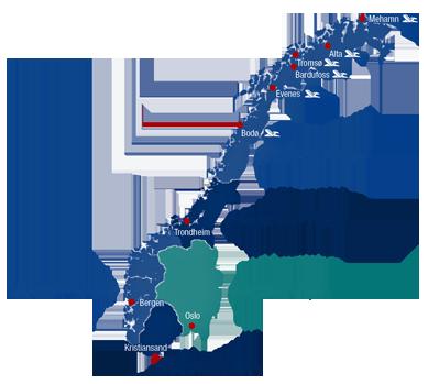Karte Angelreisen Norwegen